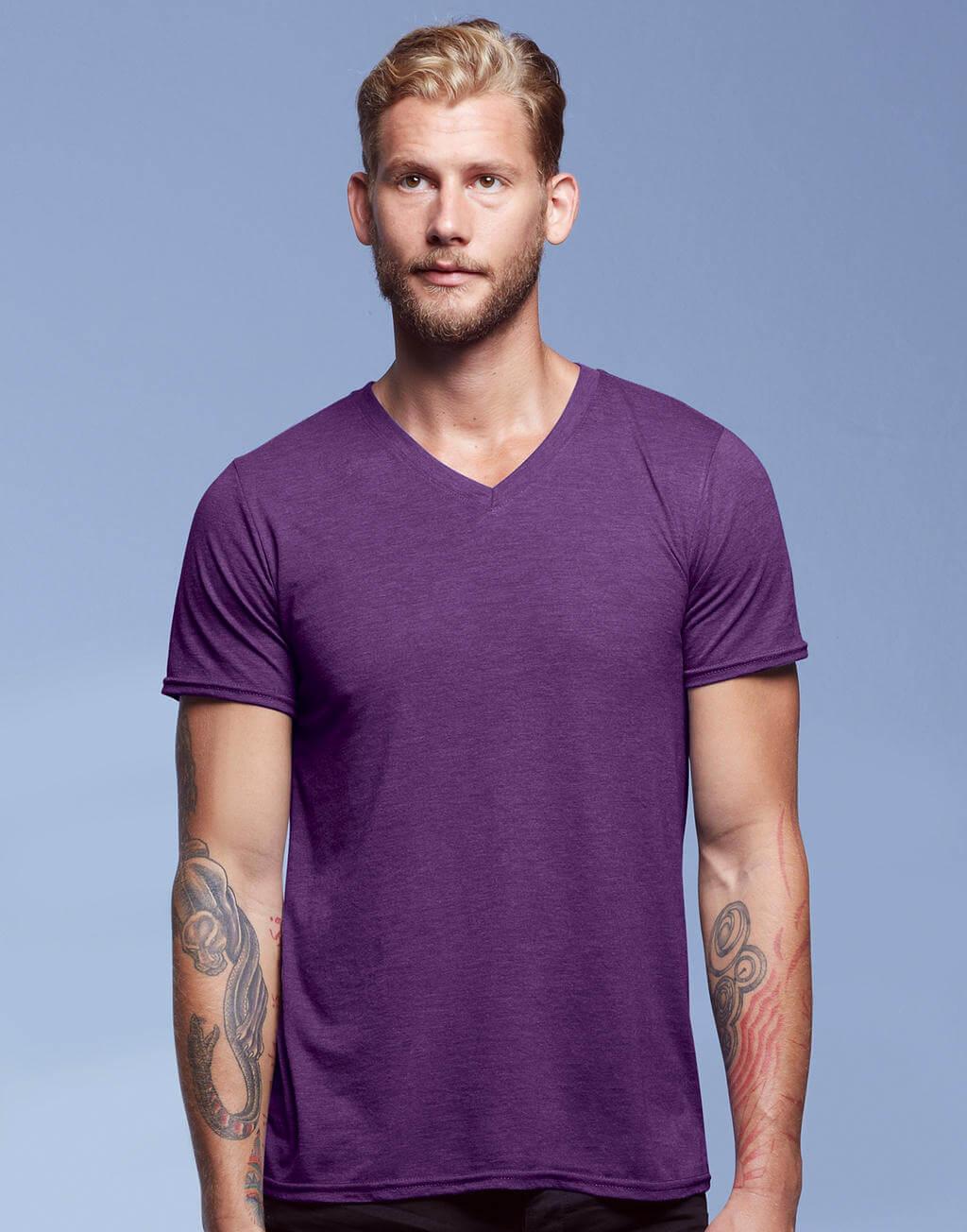6752 Pánske tričko Tri-Blend V-neck